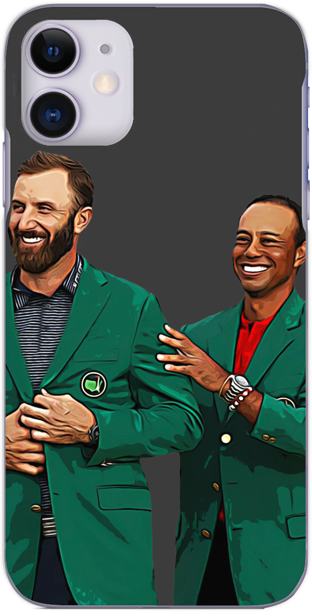 Dustin Johnson receives the Green Jacket from Tiger Woods 2020