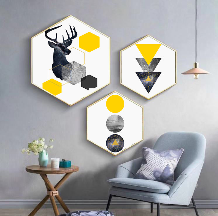 3pcs Hexagon Wall Decorative Frame