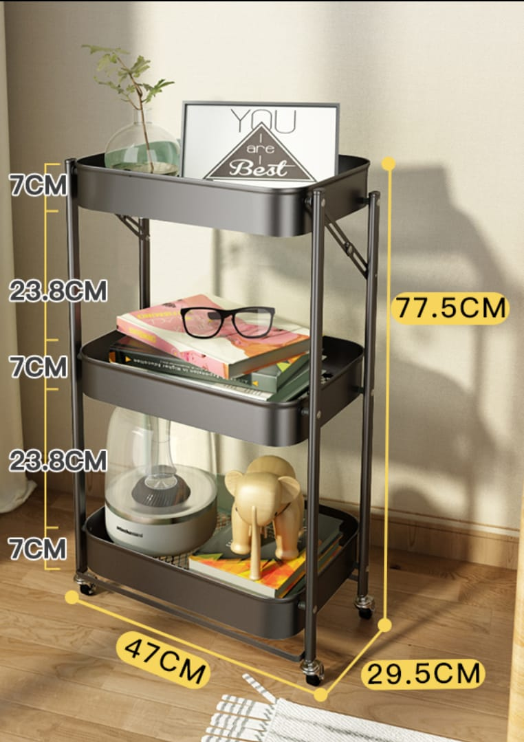 Foldable Assembly - Free Home Storage Steel Trolley Cart