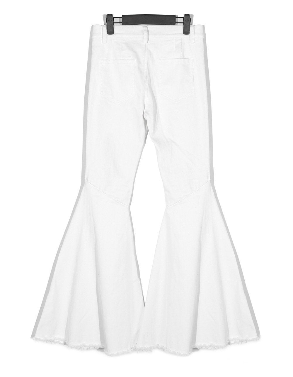 Usatani High Waisted Pocket Flare Pants - White