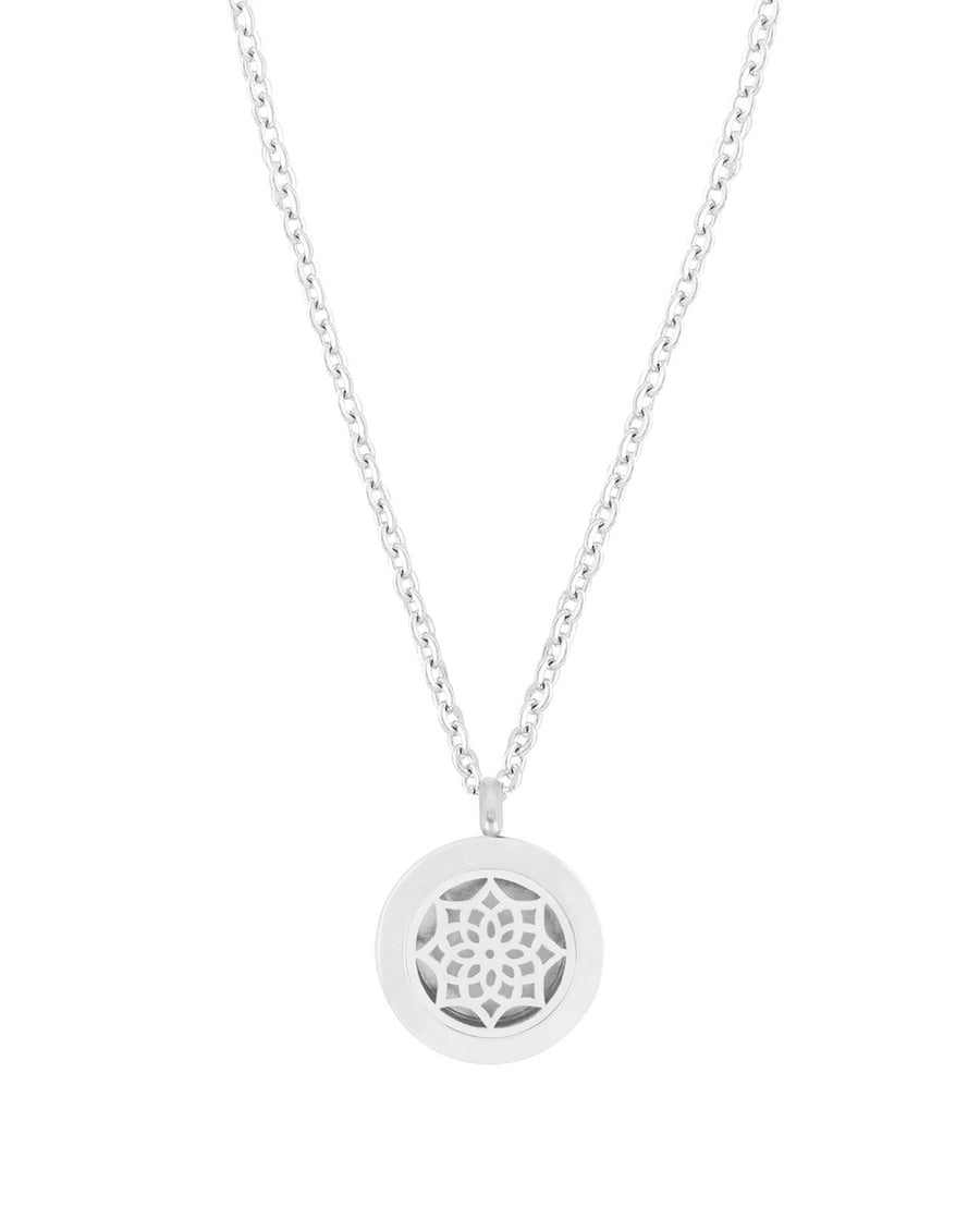 Essential Oil Aromatherapy Diffuser Aroma Necklace Silver Stainless Steel Blossom Flower