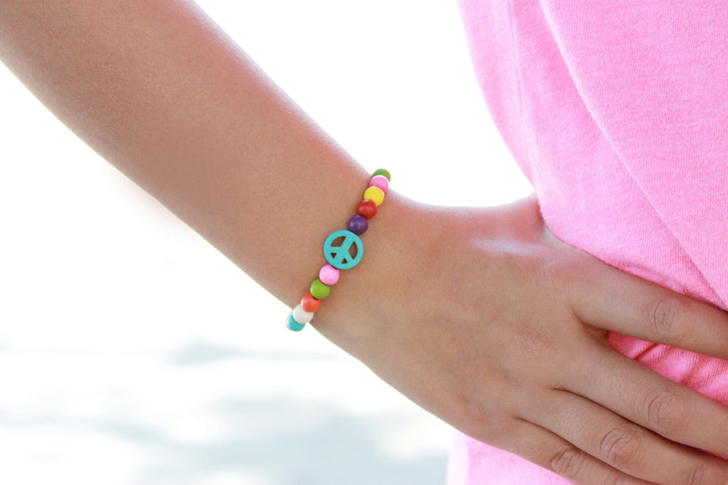 Girls Colorful Peace Essential Oil Lava Bracelet