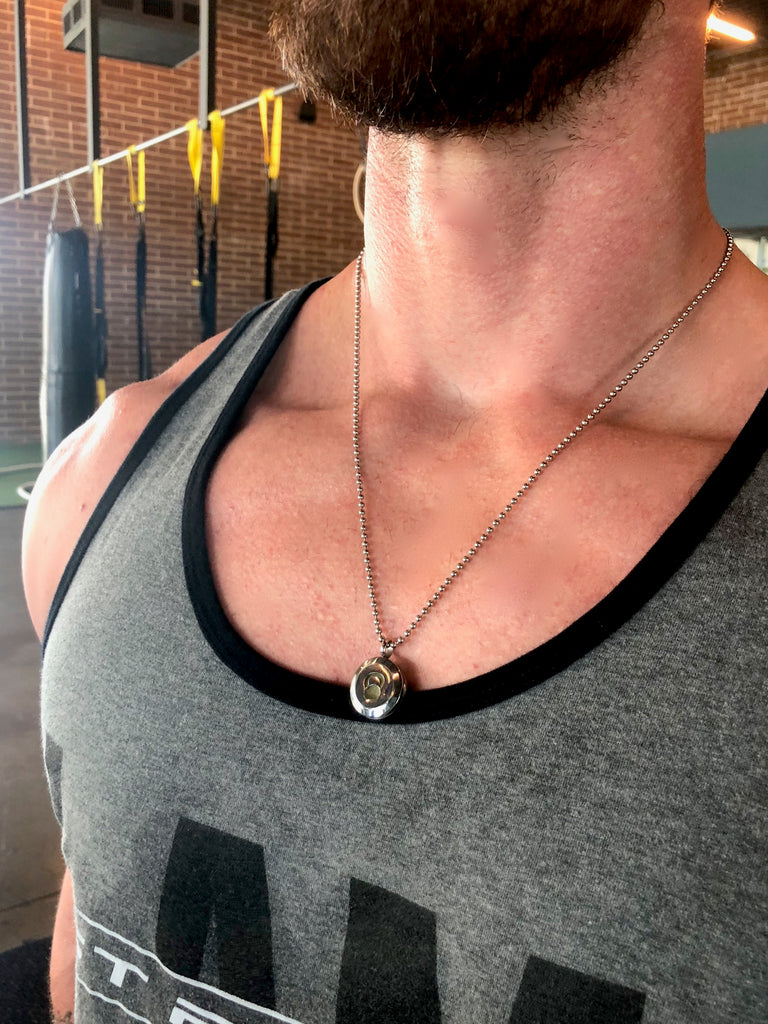 mens kettle bell essential oil locket