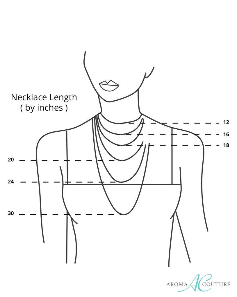 simply lava diffuser necklace silver aroma couture rh aromacouturejewelry com Necklace Chain Size Chart necklace length diagram inches