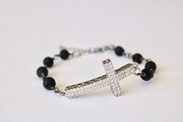 pave cross lava diffuser bracelet rosary essential oil aromatherapy jewelry aroma couture