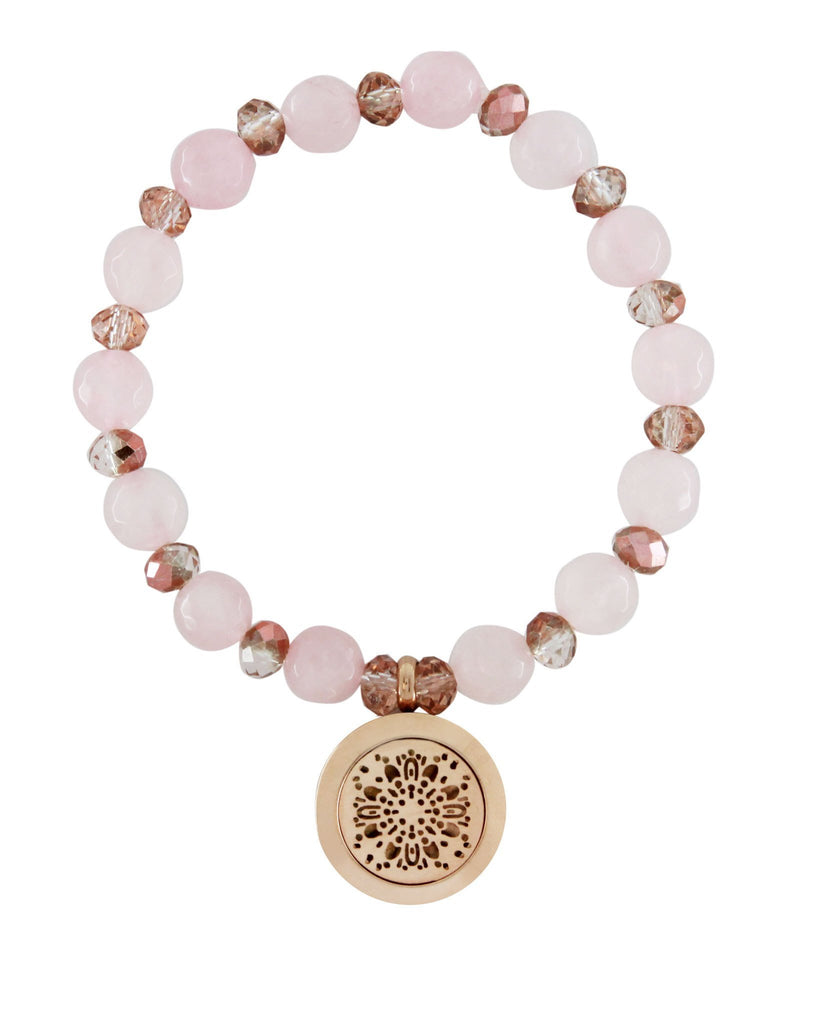 Rose Quartz Rose Gold Stainless Steel Essential Oil Aromatherapy Diffuser Bracelet