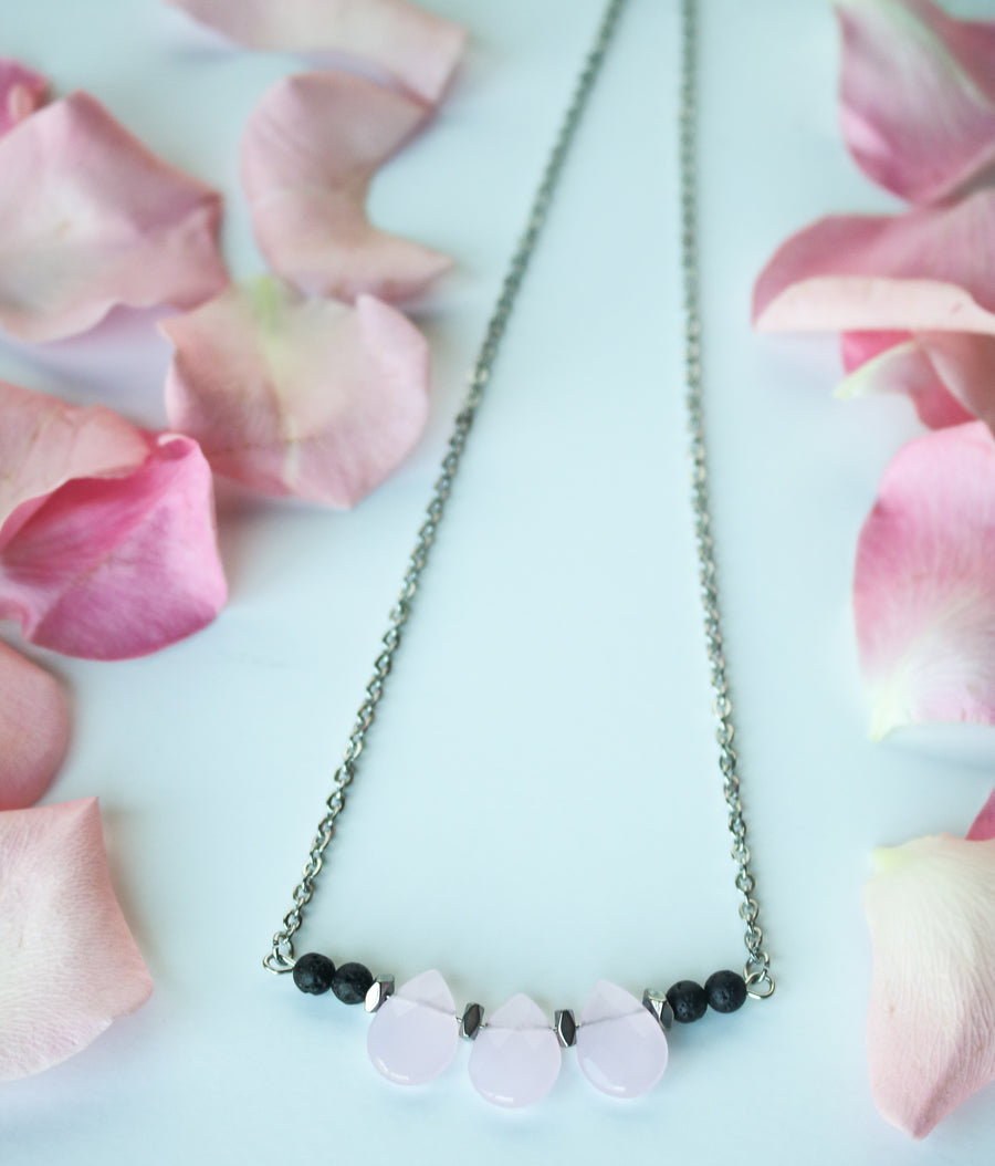 rose quartz lava diffuser necklace