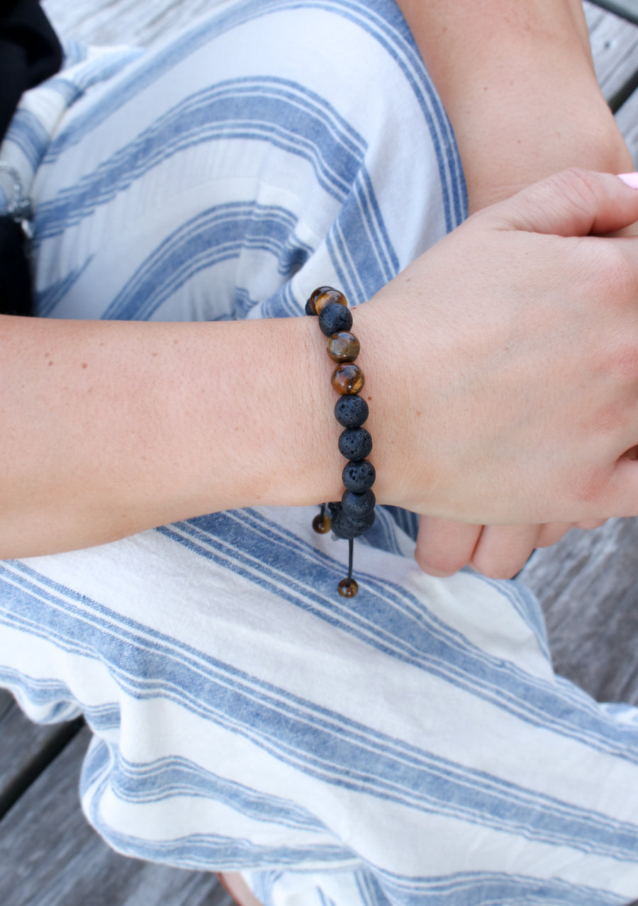 tigers eye lava bracelet aroma couture