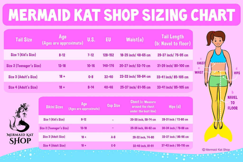 Mermaid Tail sizing chart