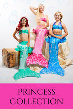 Load image into Gallery viewer, Princess Mermaid Tail Sets (Tail Skin, Monofin & Bikini)