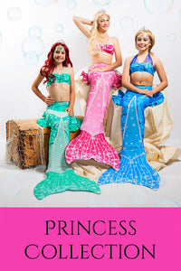 Princess Mermaid Tail Sets (Tail Skin, Monofin & Bikini)