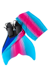 Turquoise and pink mermaid fin for swimming