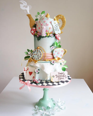 Alice in wonderland tea party cake - Tuck Box Cakes