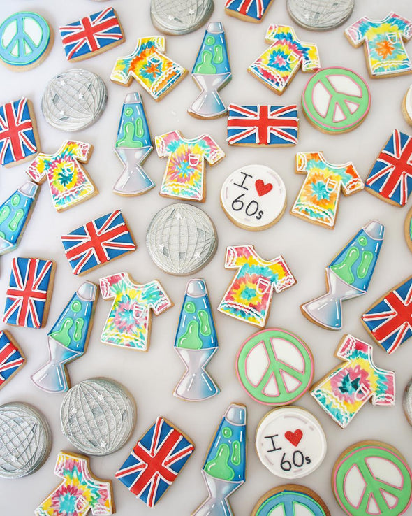60's Brit Themed Cookie - Tuck Box Cakes