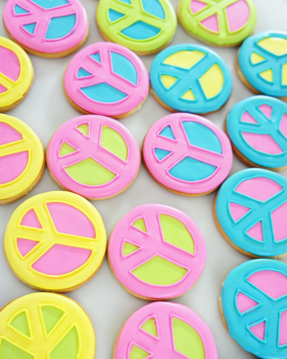 Neon Rave Peace Sign Cookies - Tuck Box Cakes