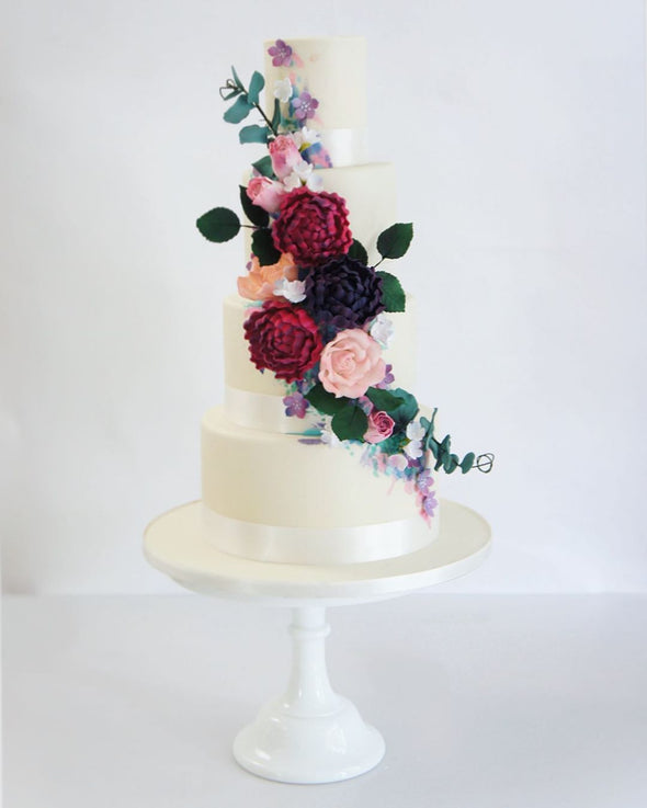 Berry Tones Wedding Cake - Tuck Box Cakes