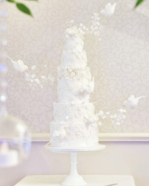 Flying Bird White Wedding Cake - Tuck Box Cakes