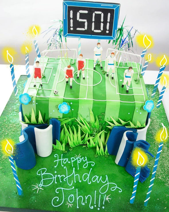 Football Pitch And Ball Cake - Tuck Box Cakes