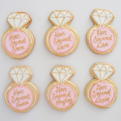 Hen Party Diamond Ring Cookies - Tuck Box Cakes