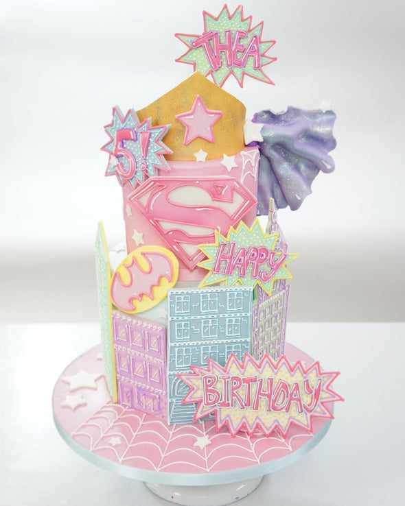 Pastel Super Hero's Cake - Tuck Box Cakes