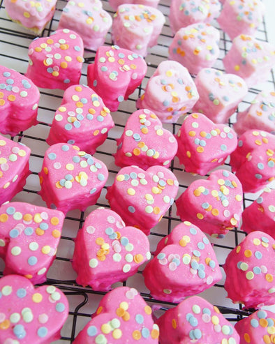 Heart Fondant Fancies - Tuck Box Cakes