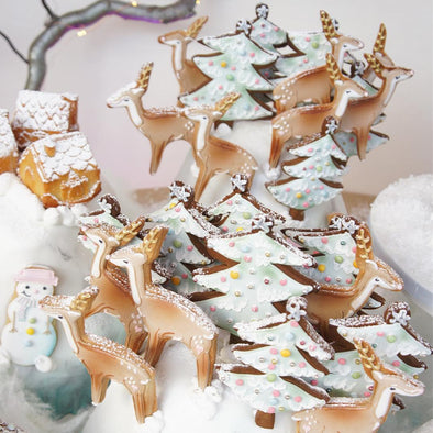 Reindeer And Christmas Tree Cookie Pops - Tuck Box Cakes