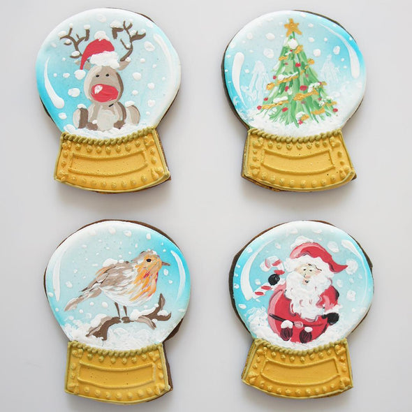 Hand Painted Snow Globe Cookies - Tuck Box Cakes