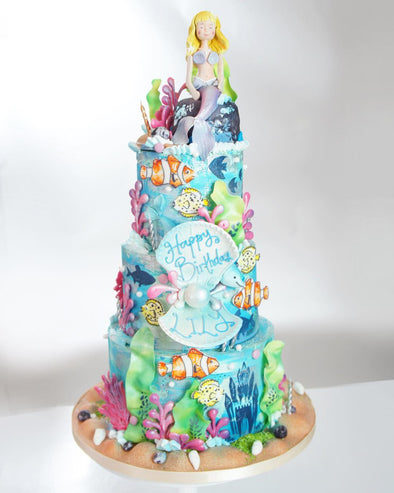 Tiered Mermaid Cake - Tuck Box Cakes