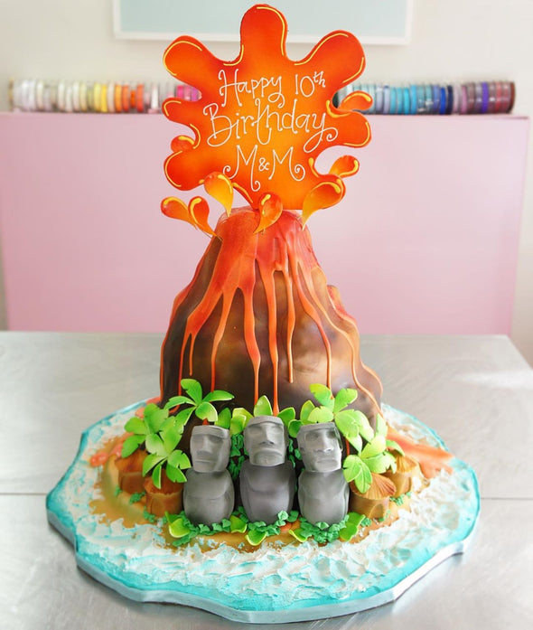 Volcano/Easter Island Cake - Tuck Box Cakes
