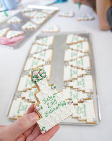 Pretty Wedding Cake Cookies - Tuck Box Cakes
