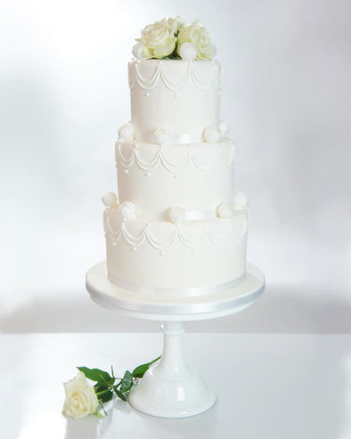 Fresh White Rose Wedding Cake - Tuck Box Cakes