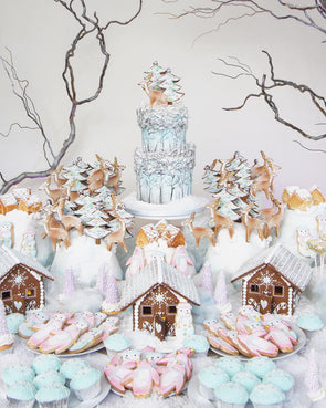 Snowy town dessert table