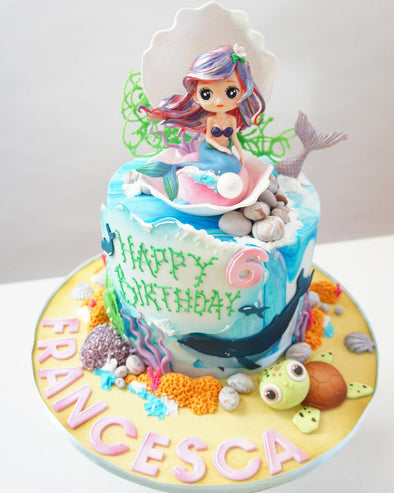 Mermaid Cake Single Tier - Tuck Box Cakes