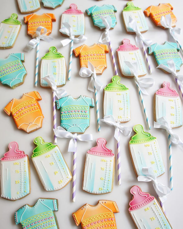Baby Grow And Milk Bottle Cookie Pops - Tuck Box Cakes