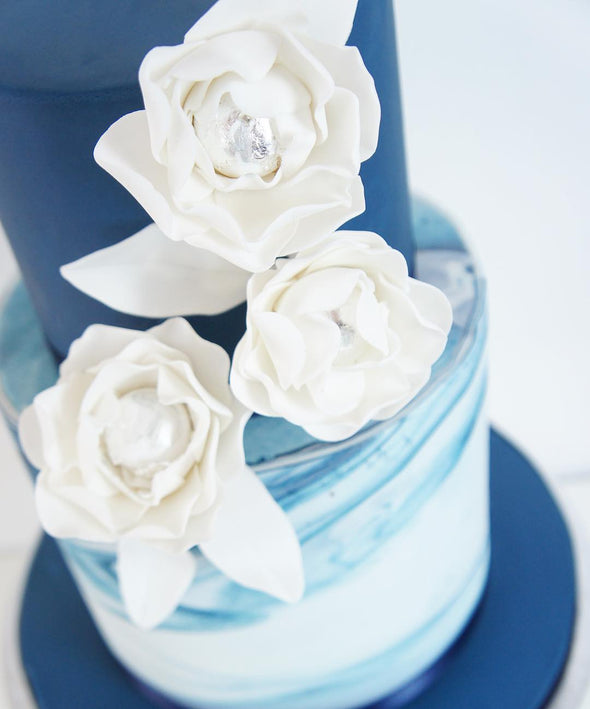 Marble and flower single colour cakes - Tuck Box Cakes