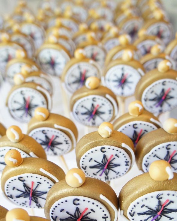 Golden compass cake pops - Tuck Box Cakes