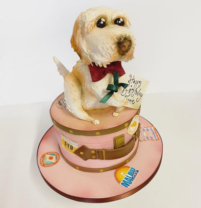 Dog On A Hat Box Cake - Tuck Box Cakes