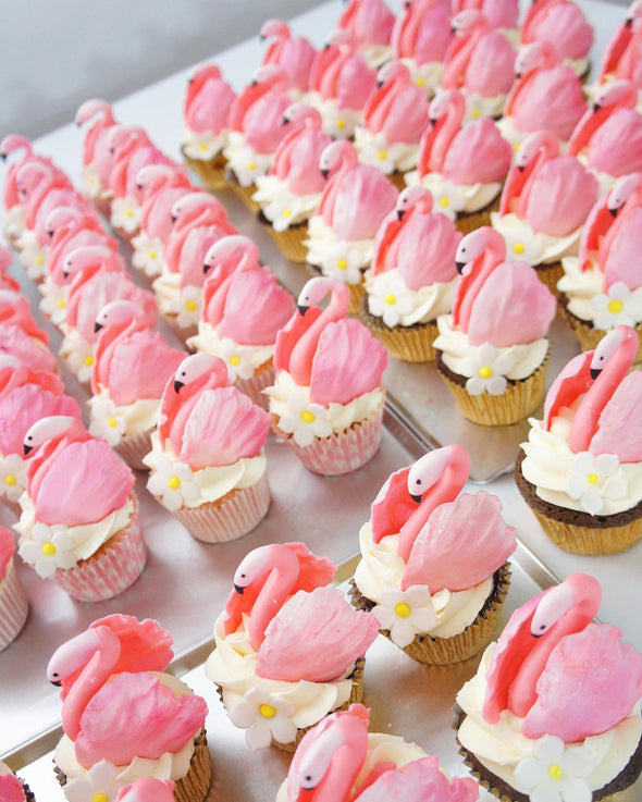 Pretty Flamingo Cupcakes - Tuck Box Cakes