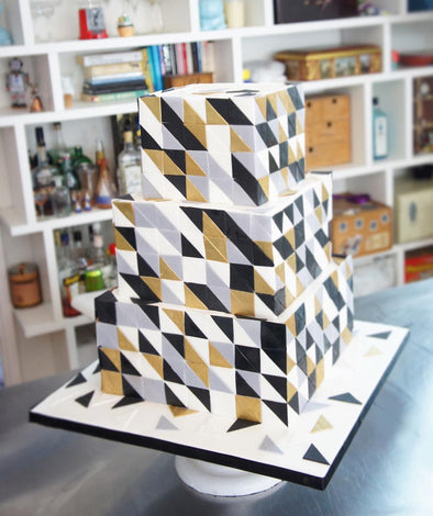 Geometric square and triangle cake - Tuck Box Cakes