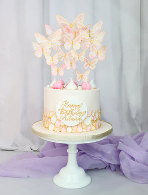 Pastel butterfly launch cake