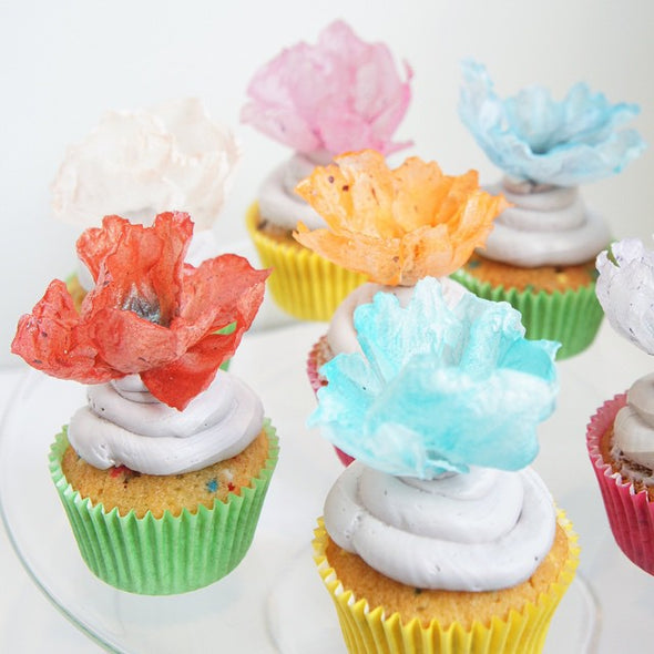 Paper poppy cupcakes - Tuck Box Cakes