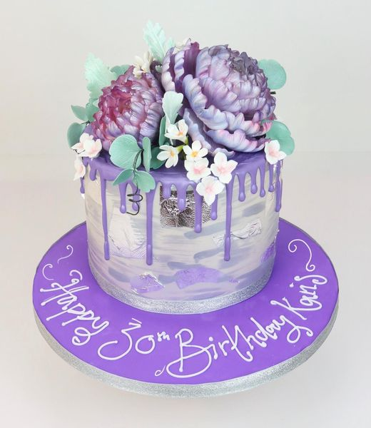 Purple And Silver Floral Drip Cake
