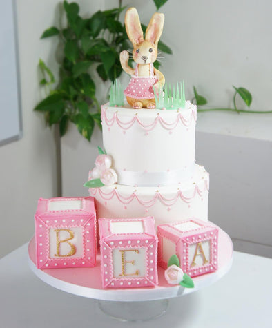 Bunny and building blocks - Tuck Box Cakes