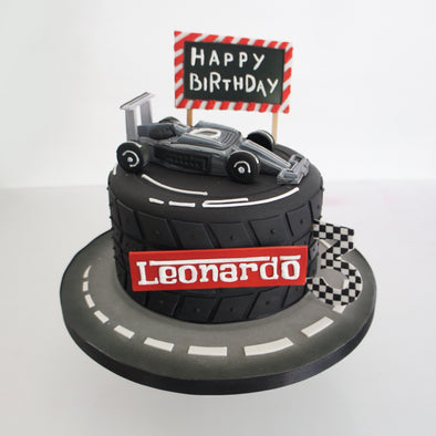 Formula one car tyre cake