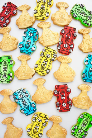 Racing car cookies