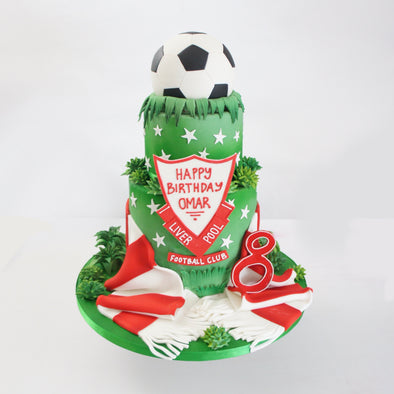 Tiered football cake