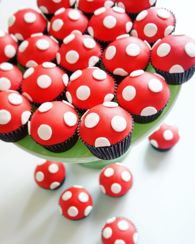 Toadstool cupcakes - Tuck Box Cakes