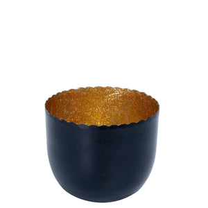 DELIGHT tealight h. black/gold D7cm