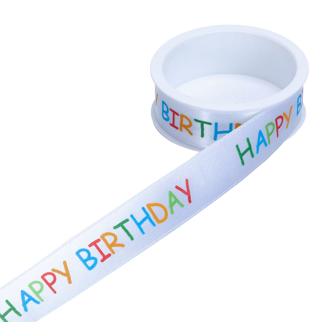 SATIN gift ribbon Happy Birthday 25mm