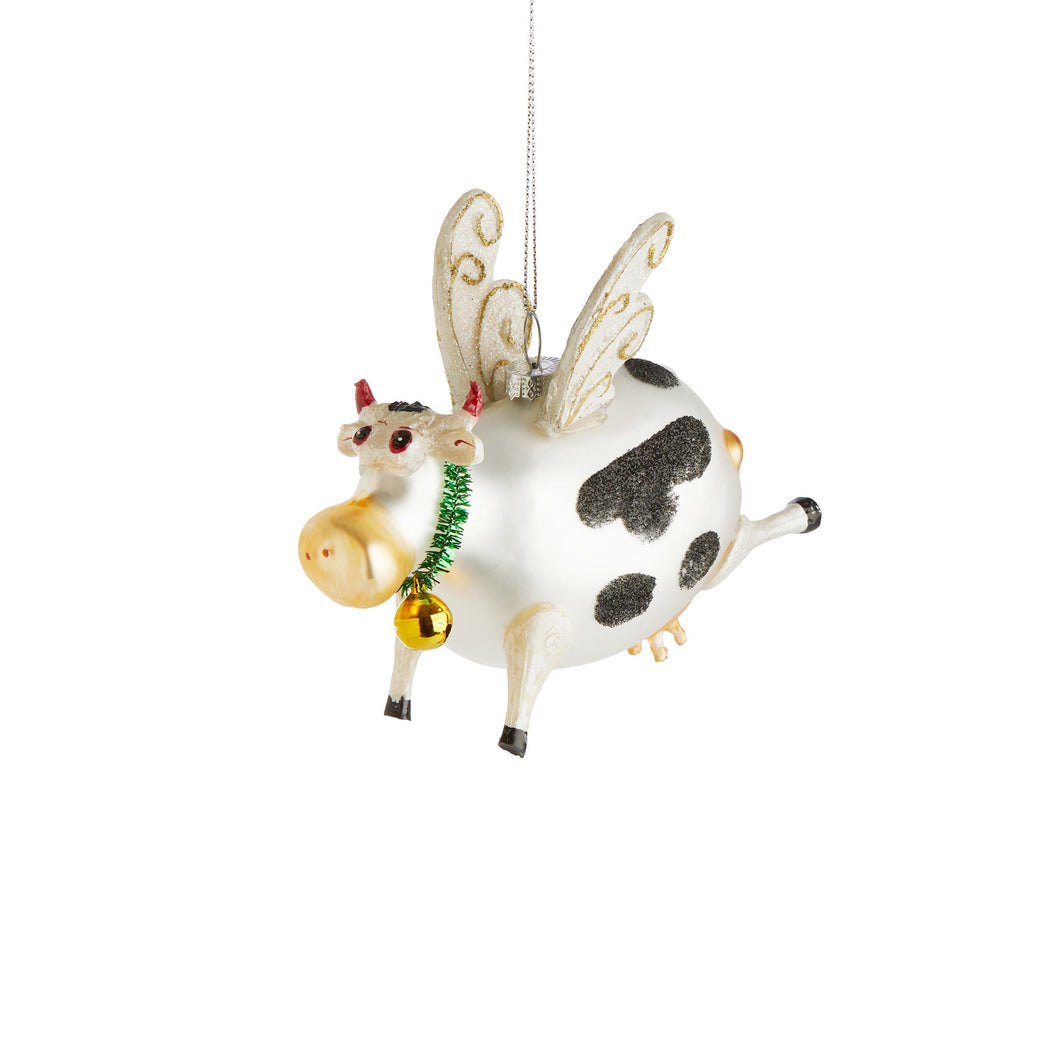 HANG ON ornament flying cow